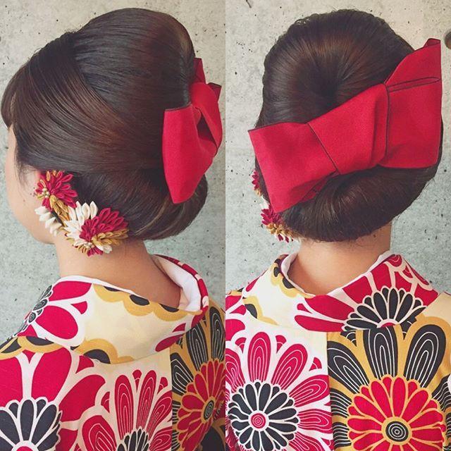 * * 卒業式 ♡  袴hair * * 畳縁でリボン❤️❤️❤️ * * 畳縁はお着物にも バッチリです♡ * * #ヘアアレンジ #卒業式ヘア #浜松市 #マリhair