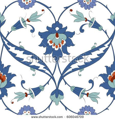 Traditional Arabic  pattern seamless. Floral Ornamental pattern. Iznik Vector.  Background