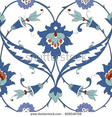 Traditional Arabic  pattern seamless. Floral Ornamental pattern. Iznik Vector.  Background