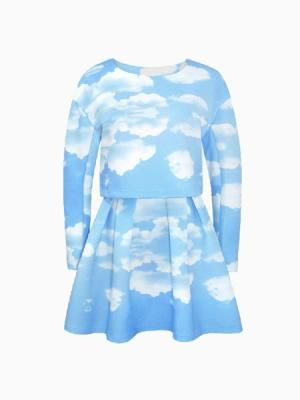 New Look Cloud Printed Blouse With Skirt