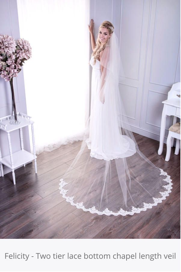 Felicity - Two tier lace bottom chapel length veil