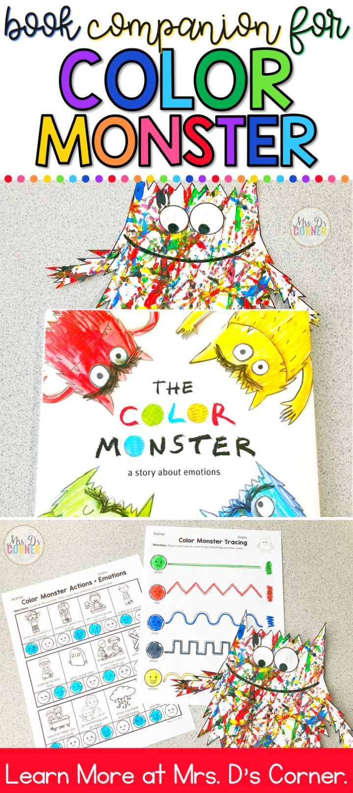 Color Monster Book Companion Visual Craft And Recipe And Stem Activity Emotions Activities Emotions Preschool Kindergarten Activities [ 1615 x 720 Pixel ]