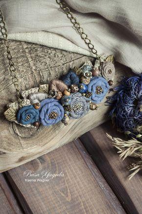 """Купить Колье """"Цикорий"""" - синий, ярко-синий, цикорий, колье с цветами, колье ручной работы"""