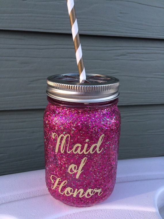 Bridal Party Cups Glitter Mason Jar Cups Bridesmaid by APVinyl