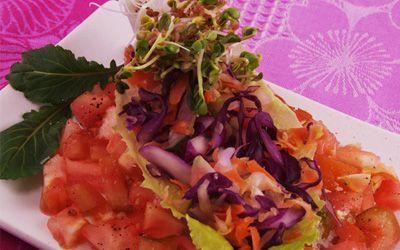 Ensalada de col lombarda, pepino, zanahoria, rábano, col y germinados de daikon. Explosión de colores y sabores.