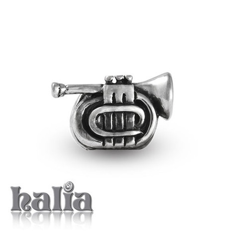 Trumpet: Trumpet musical instrument bead: designed exclusively by Halia, this bead fits other popular bead-style charm bracelets as well. Sterling silver, hypo-allergenic and nickel free.     $35.00