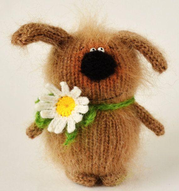 Knitted brown dog Stuffed dog hand-knit puppy amigurumi dog