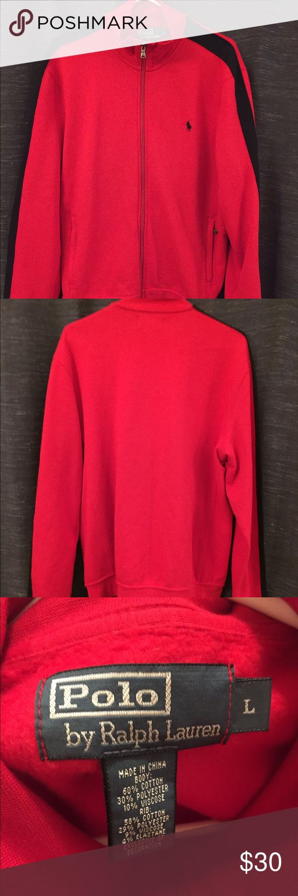 Polo by Ralph Lauren red sweater jacket Men's polo red zip up jacket. It has a black stripe along the outside of the sleeves. Zipper works great! Nice! Polo by Ralph Lauren Sweaters Zip Up