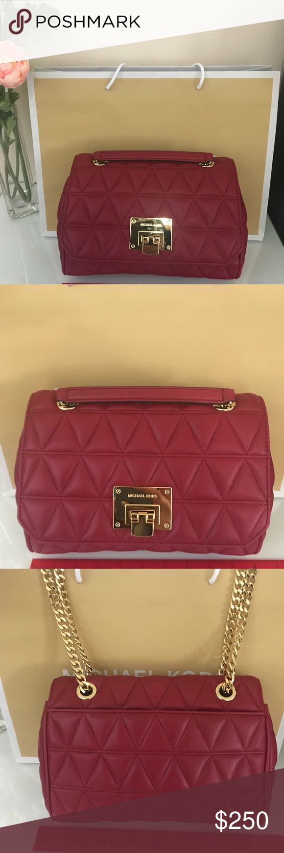 Michael Kors Quilted Vivianne Cherry red handbag New with tags! MSRP $378 Authentic Michael Kors Quilted Medium flap fold lock shoulder to crossbody convertible handbag. Features gold hardware. Single zippered pocket inside. So perfect for all your holiday parties - stylish and luxurious! Michael Kors Bags Crossbody Bags