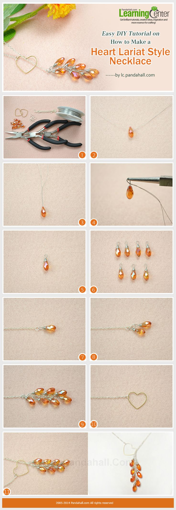 Easy DIY Tutorial on How to Make a Heart Lariat Style Necklace