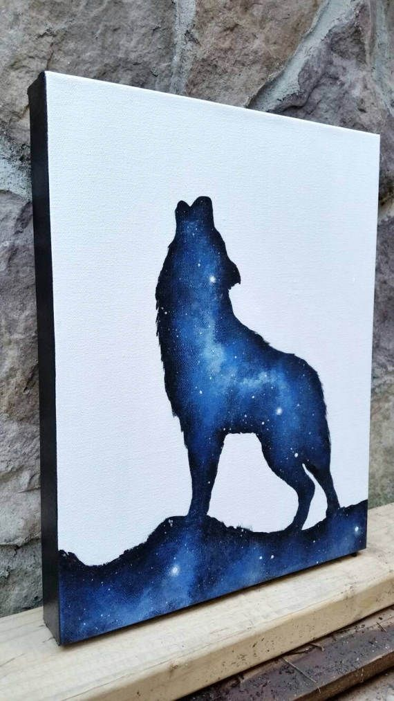 Space wolf painting, galaxy canvas painting, space canvas, wolf canvas, original wolf painting, hippie art, boho wolf decor, spirit animal painting, native american art    by the mind blossom
