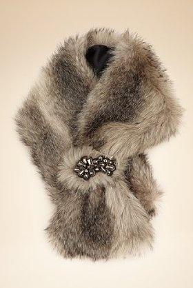 Jewel Embellished Slot Through Faux Fur Scarf - Marks & Spencer