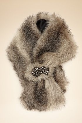 Jewel Embellished Slot Through Faux Fur Scarf - Marks & Spencer