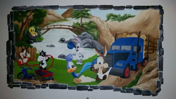 muurschildering looney tunes babys