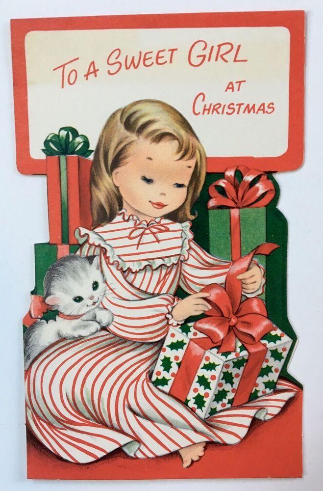 Vintage Die Cut Christmas Card Pretty Girl Stripe Nightgown Kitty Cat Present A+