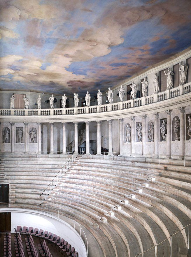 The fact that this is an internal version of a classical theatre (that is normally built outdoor) is in itself a trait of Renaissance where architects innovate and introduce strange extension of classical architecture.   Renaissance therefore could be described as classical architecture for un-classical functions   Theater Olimpico Vicenza III 2010 | Candida Höfer