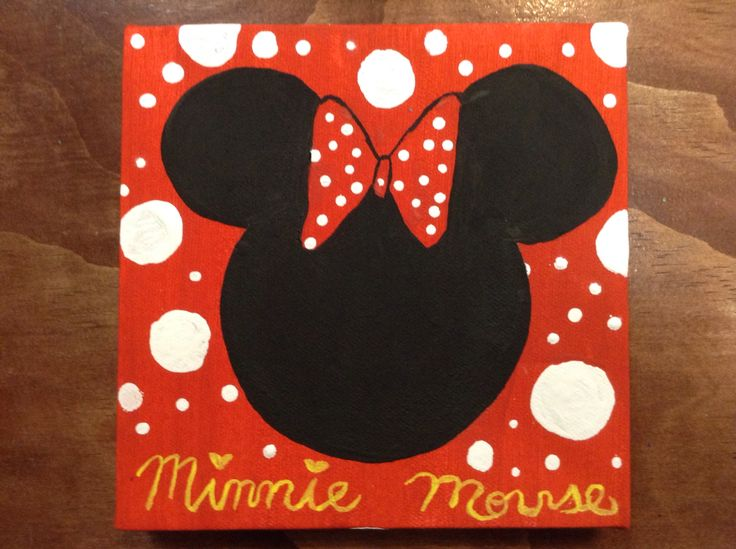 Minnie Mouse On Canvas Painted By Booksandballgowns