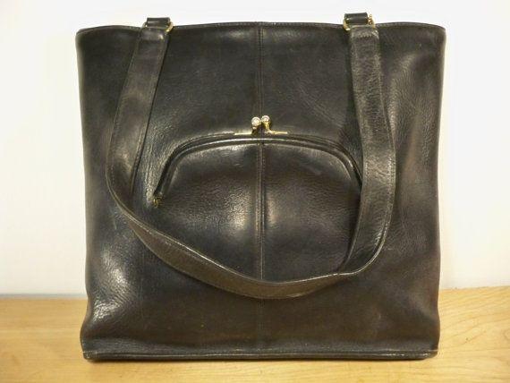 Entraîneur Vintage Black Kiss Lock bouche cuir sac à main sac à main Pack Attache serviette sac Made in USA