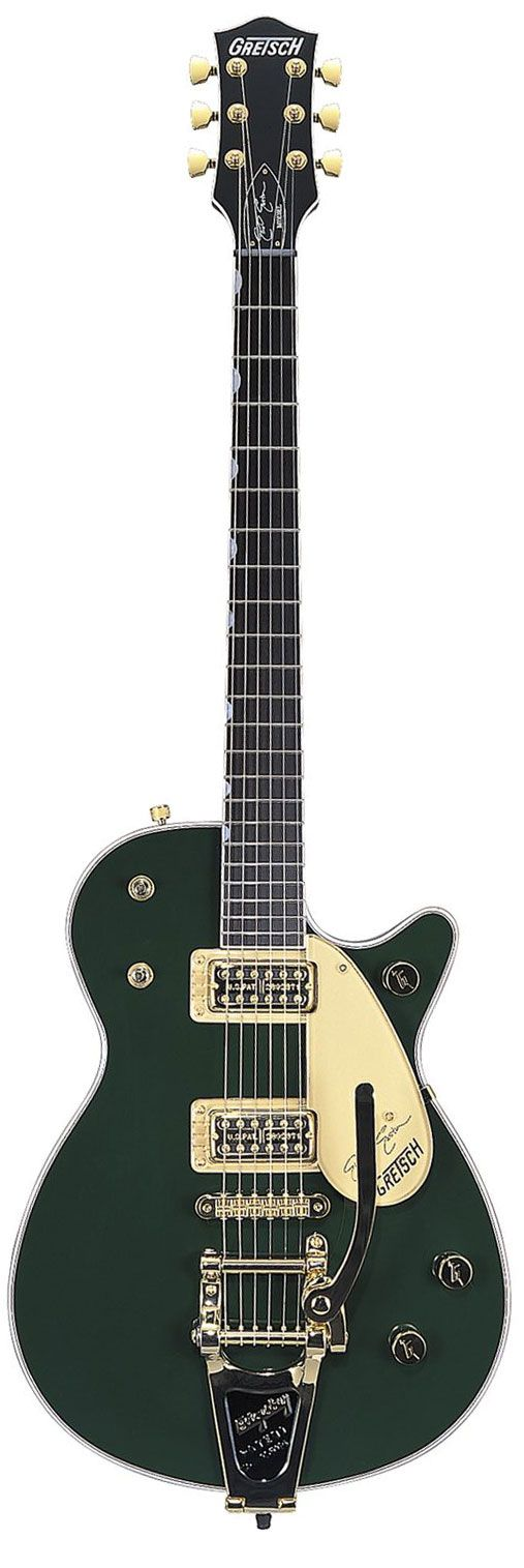 Gretsch Duo Jet (maybe a Power Jet, looks like it's a vintage or custom shop due to the Bigsby tremolo)