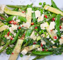 Warm Spring Veg salad with Feta Cheese