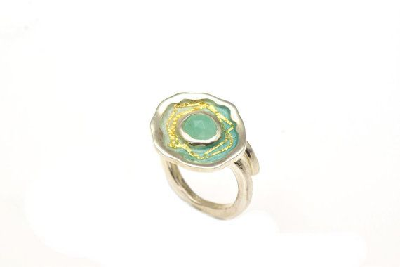 Statement Ring,#Turquoise #Agate,Sterling Silver Ring, #Gemstone, Enamel Ring, Under 100, Giampouras Collections €87.50 EUR
