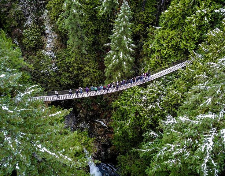 Oh hey, that's us! Thanks marcokirr for this amazing group shot at #lynncanyon #samesunvancouver #hiking #bcisbeautiful #bridge #drone #adventure #winter #activebc #bcisbeautiful