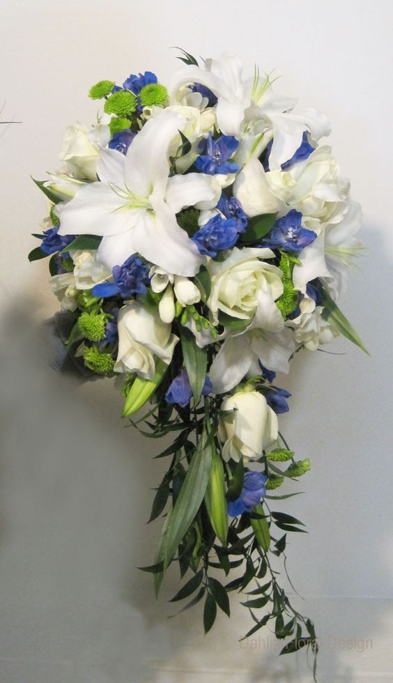 yellow and blue bridal bouquets | blue and white cascade wedding flower bridal bouquet: