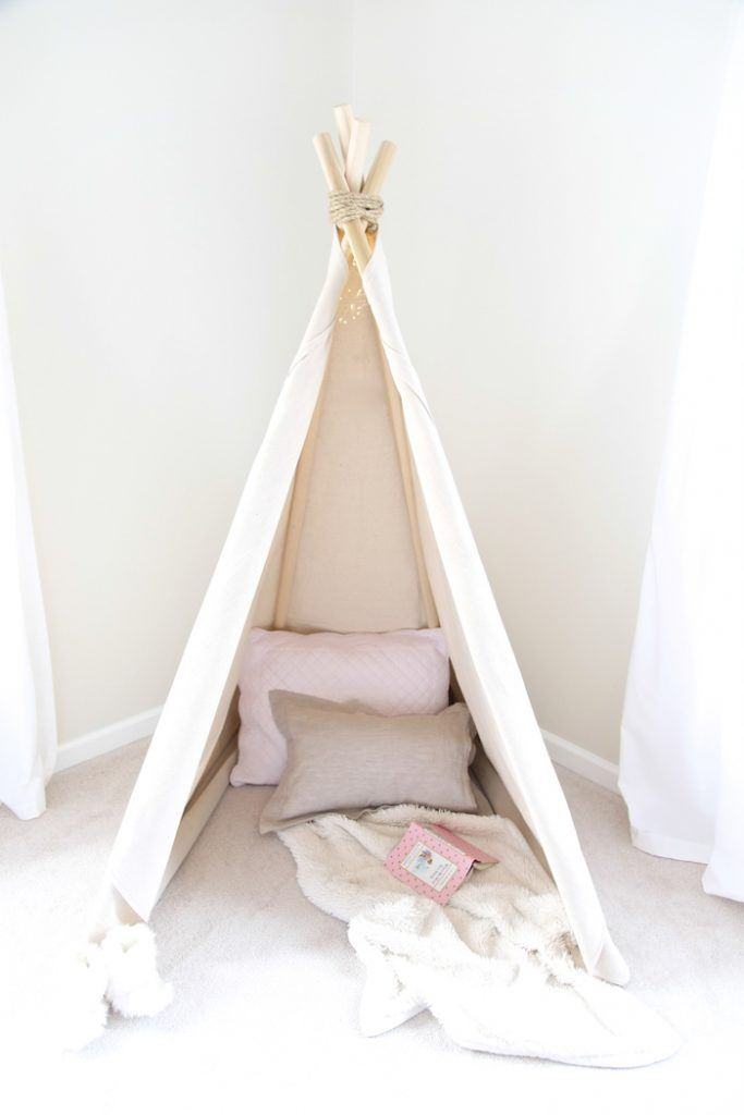 Learn how to make a teepee in less than an hour! A quick & easy no sew teepee tutorial your kids will enjoy for years to come!