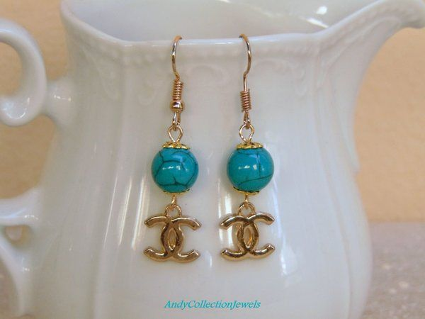 Summer Turquoise Howlite Dangling Earrings with Replica LV or CC charm