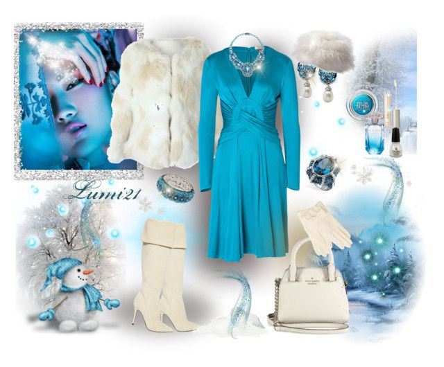 blue winter by lumi-21 on Polyvore featuring Issa, Semilla, Kate Spade, Palm Beach Jewelry, Oleg Cassini, Ilia, Maybelline, Elie Saab and China Glaze