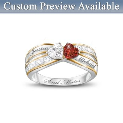 Topaz And Garnet Personalized Romantic Ring: Two Hearts Become Soul Mates  Would love this for James & I: Idea, Soul Mates, Wedding, Bradford Exchange, Two Hearts, Jewelry, Rings, Soulmates