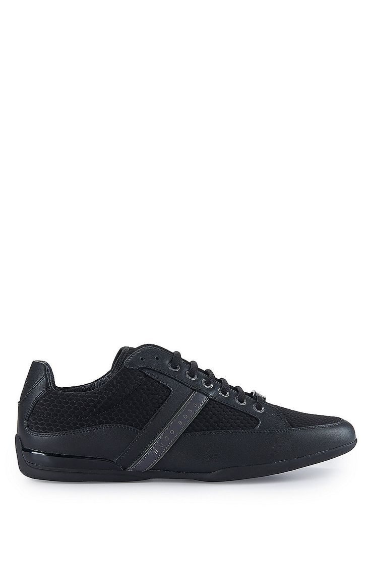 Mesh Leather Sneaker | Space Lowp Nyme  Black from BOSS Green for Men for $195.00 in the official HUGO BOSS Online Store free shipping