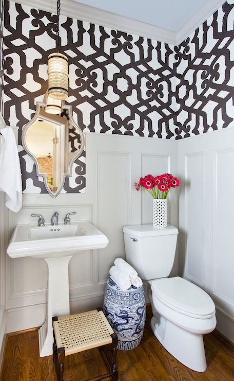 TerraCotta Properties: Powder room with board and batten walls paired with Dedar Alhambra Quasi Nero Wallpaper, ...
