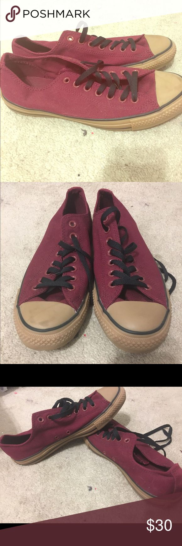 Converse burgundy canvas Size 11 Womens These burgundy cancas brown rubber converse i purchased from the converse store in mens size 9 and womens size 11 to small for my feet now but maybe perfect for yours never worn out just sitting it out in my closet Converse Shoes Sneakers