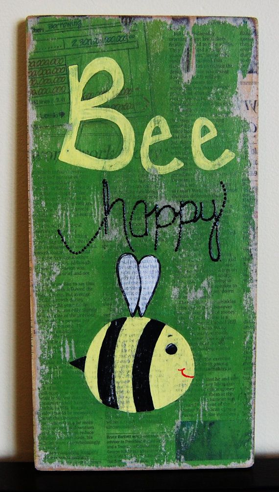Bee Happy Wooden Sign by YertleAndMyrtle on Etsy