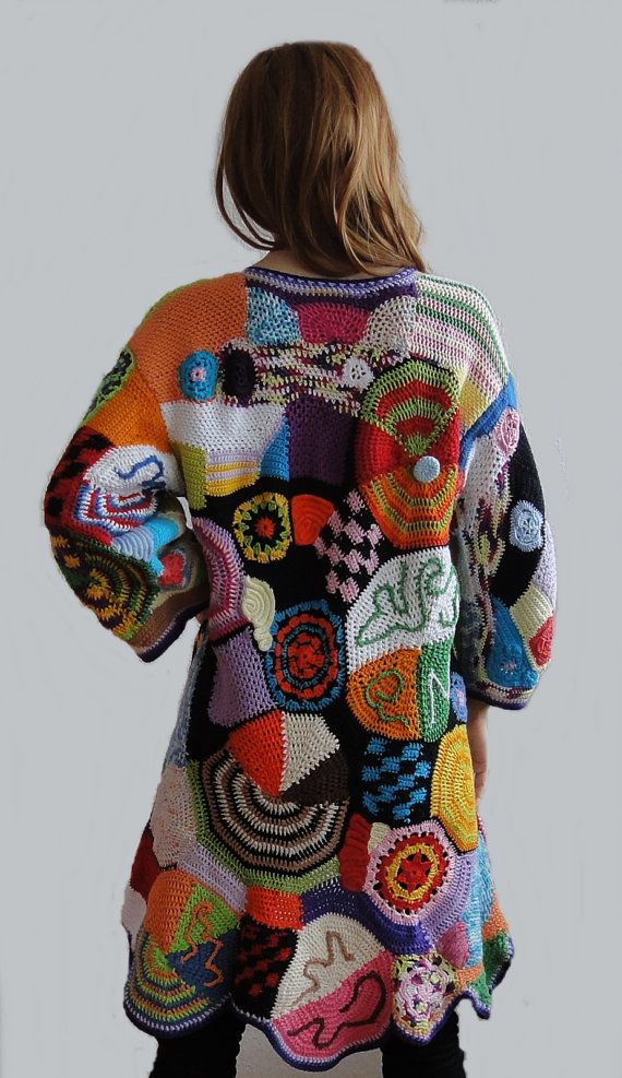 Multicolor cardigan hand made crochet patchwork vest by GlamCro, $1000.00
