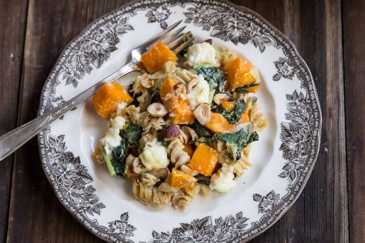 Baked Pasta with Squash and Kale • theVintageMixer.com