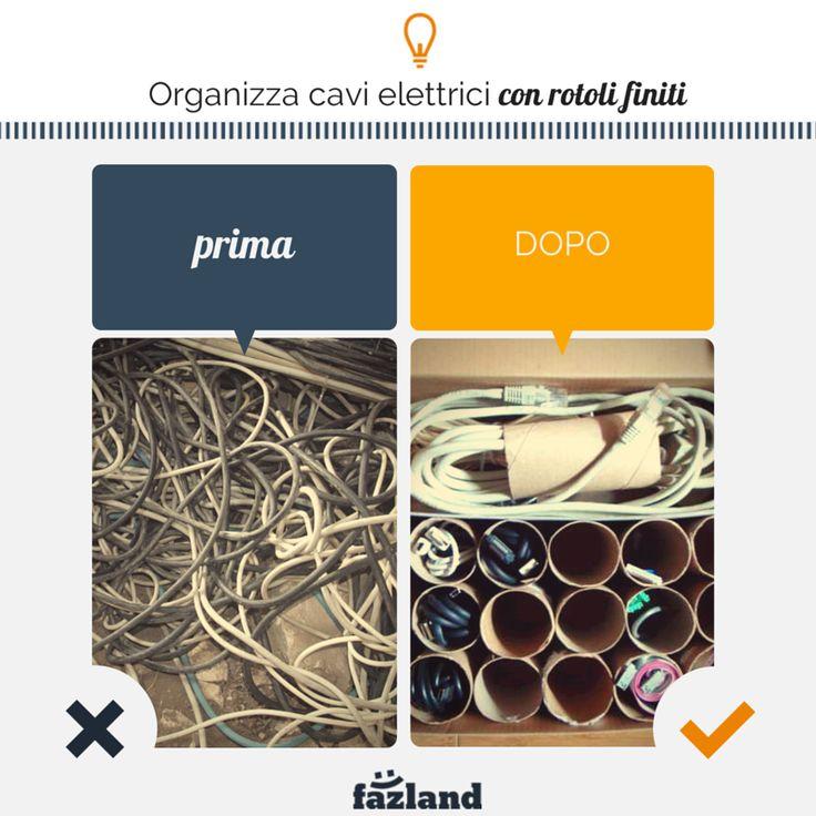 7 soluzioni per organizzare i cavi elettrici #riciclando. #faidate #casa #fili