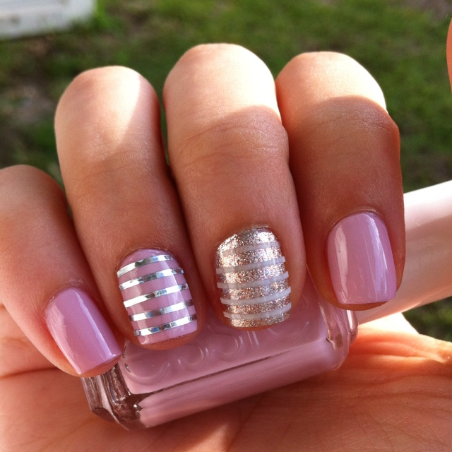 Nail Designs With Striping Tape: Neo Whimsical (with Silver Nail Striping Tape) And