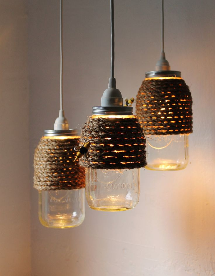 The Hive - Set of 3 - Half Gallon Quart Sized Mason Jar Pendant Lights - UpCycled Handcrafted BootsNGus Lighting Fixture Wrapped in Rope. $130.00, via Etsy.