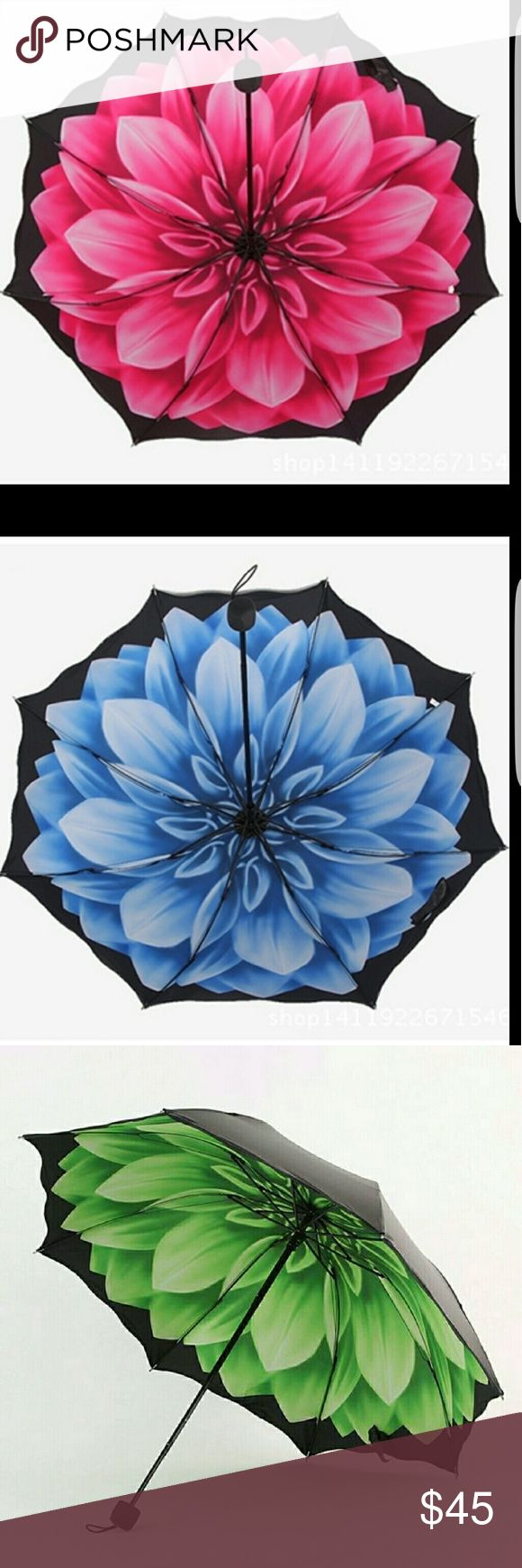 Beautiful umbrellas peony inside Amazing women's umbrella,  with the image of  peony,, black coating. Pink  Not automatic Accessories Umbrellas