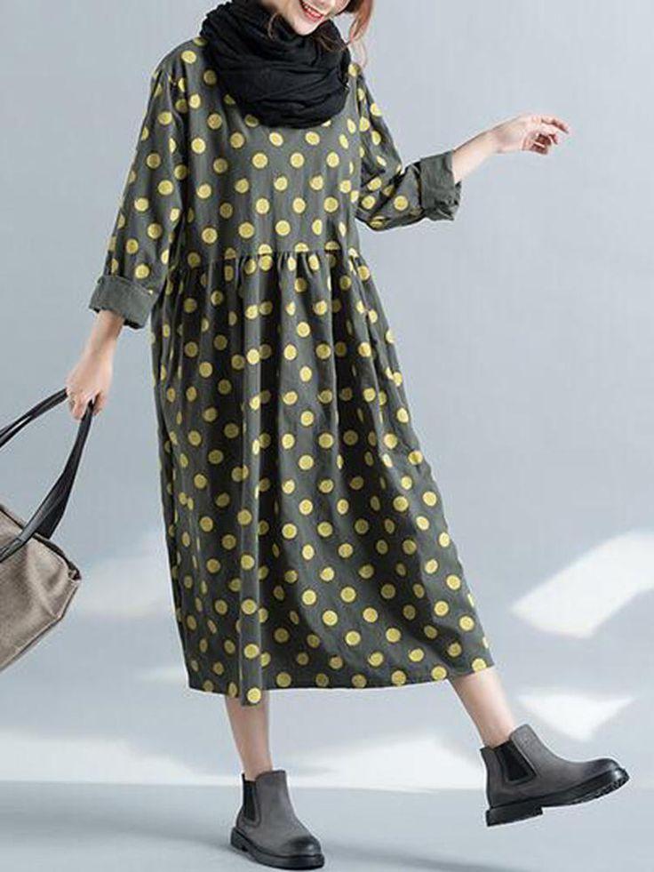 Casual Loose Women Long Sleeve Pockets Polka Dots Dress at Banggood
