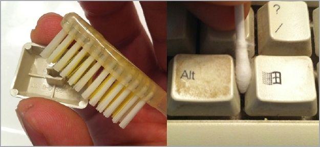 Get all the grossness out of your keyboard with a toothbrush and cotton swabs. | 20 Simple Tricks To Make Spring Cleaning So Much Easier