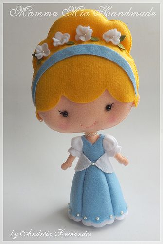 Disney-style Cinderella ||| plush, fabric, felt, princess, doll