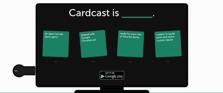 Cardcast, the Best Cards Against Humanity Game for Chromecast Since its release, the Google Chromecast has been home to a number of inventive games. I'd mentioned that Dehumanize Your Friends as one of the top 10 must-have apps for the Chromecast back in March. Dehumanize is a Cards Against Humanity (CAH) player that brings the ever-popular game to the big screen in your living room #chromecast   #cards   #games