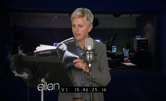 Ellen Reads From Fifty Shades of Grey, is Mortified. After the third book, I must say my thoughts exactly.