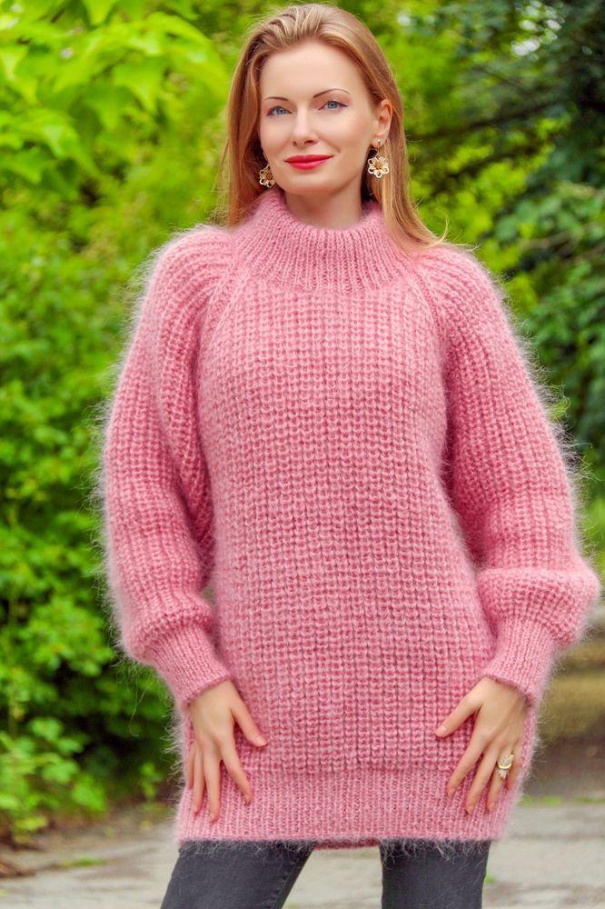 0532af68ec6 Pink hand knitted mohair sweater ribbed turtleneck fuzzy pullover SUPERTANYA   SuperTanya  TurtleneckMock
