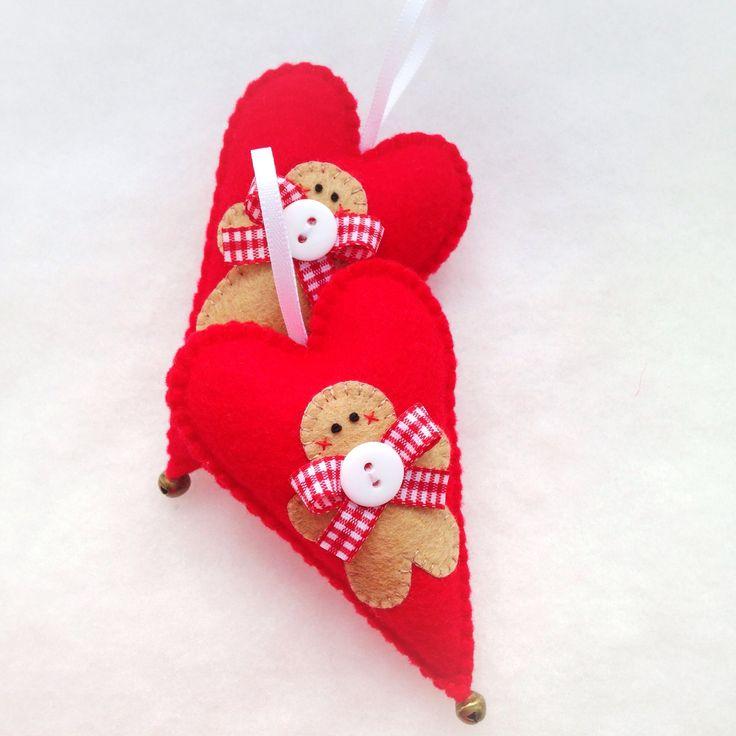 Hand stitched Felt Gingerbread Man Christmas heart ornament