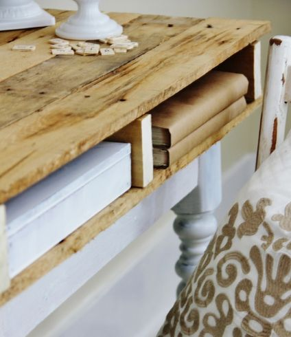 If I know anything about my readers, it is that you love repurposed pallet projects as much as I do.  Kari Anne at Thistlewood Farm has a pallet top desk upcycle that you don't want to miss.  Like all her projects, this desk has a farmhouse feel that is inviting and warm. For more wood pallet
