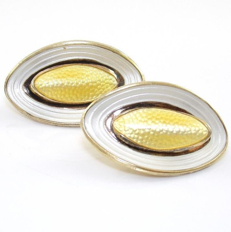 Vtg Aksel Holmsen Sterling Silver Modernist Yellow White Enamel Clip On Earrings #AkselHolmsen